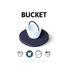 Bucket icon in different style vector image
