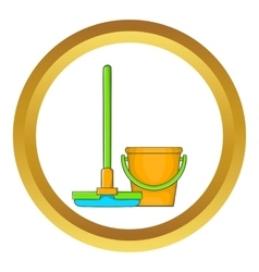 Bucket with mop icon vector