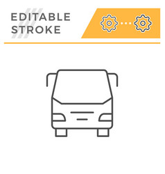bus editable stroke line icon vector image