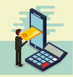 businessman smartphone credit card and calculator vector image
