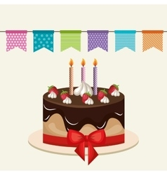 Cake chocolate candles birthday graphic vector