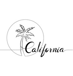 california and palm tree single line logo vector image