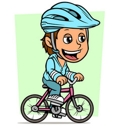 cartoon brunette girl character riding on bicycle vector image