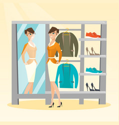 caucasian woman trying on jacket in dressing room vector image