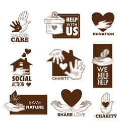 Charity and social aid hand and heart icons vector