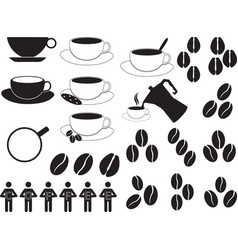Coffee cups and beans vector