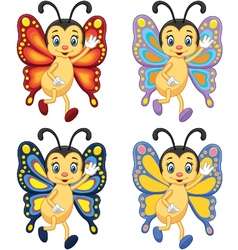 Collection butterfly waving hand vector image