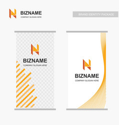 Company ads banner design with n logo vector