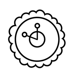 Cute clock time shaped flower decoration icon vector