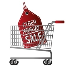 Cyber monday sale offer cart vector