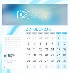 Desk Calendar for 2016 Year October Stationery vector image