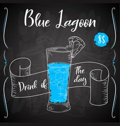 dring poster cocktail blue lagoon for vector image