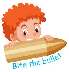 English idiom with picture description for bite vector