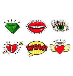 Fashion stickers badges in pop art retro style set vector