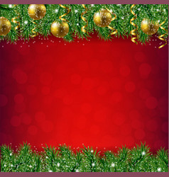 Fir tree border with red background vector
