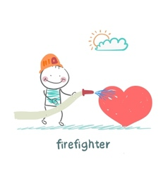 firefighter extinguishes heart vector image