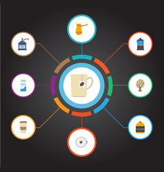 Flat icons sweetener ibrik cappuccino and other vector