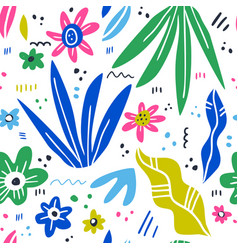 floral hand drawn seamless pattern vector image
