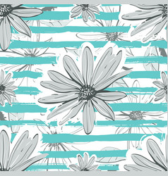 Flower pattern seamless turquoise striped vector