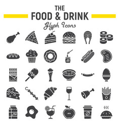 Food and drink glyph icon set meal signs vector