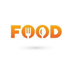 Food word sign logo icon design template elements vector