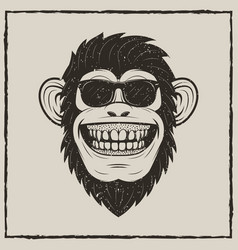 funny monkey in sunglasses grunge t-shirt vector image