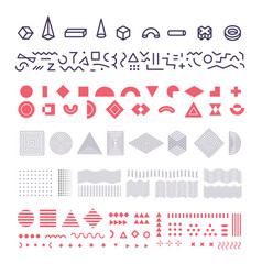 geometric memphis elements set group of vector image