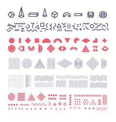 geometric memphis elements set group vector image