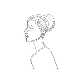 girl drawn by a single line vector image