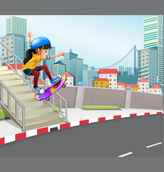 Girl playing skatebaord in urban city vector