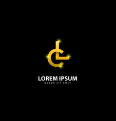 Gold letter l logo lc letter design with golden vector