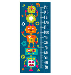 Growth measure with colorful robots vector