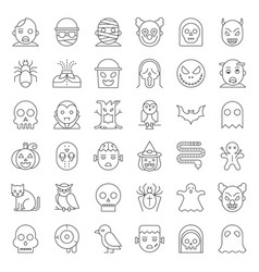 halloween character thin line icon set vector image