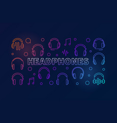 headphones horizontal colored vector image