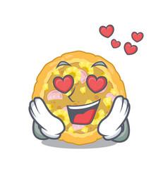 in love hawaiian pizza is served cartoon plates vector image