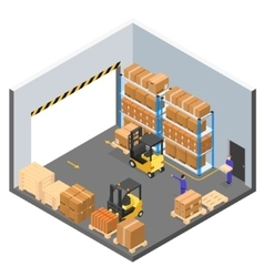 Interior Warehouse Building Isometric View vector image
