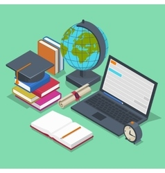 Isometric education concept 3d back to vector image vector image