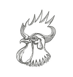 Junglefowl head doodle art vector