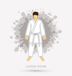 Karate suit with white martial arts belts vector