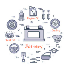 Linear round banner of battery - car part vector