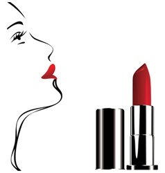 Lipstick white face vector
