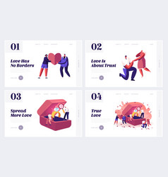 Love proposal and engagement website landing page vector