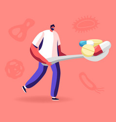 Man carry huge spoon full medicine pills with vector