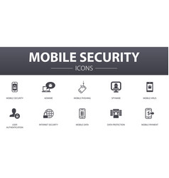 Mobile security simple concept icons set contains vector