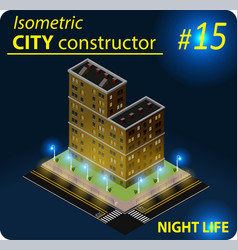 modern isometric building in night light vector image
