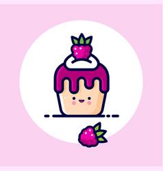 Muffin cake cream raspberries syrup berry vector
