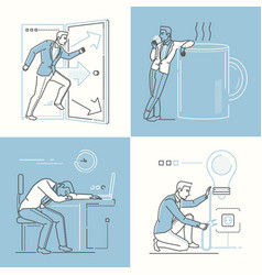 office life - set of line design style vector image