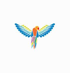 Parrots ara macao template vector