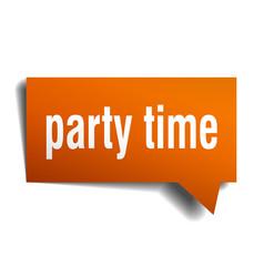 party time orange 3d speech bubble vector image