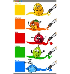 Primary colors with cartoon fruits vector